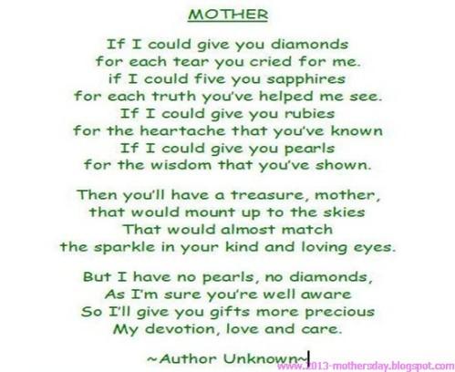 happy mother's day 2013 new poem